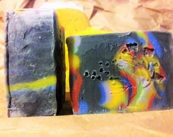Natural Bar Soap- Boo-Yah- Black/Red/Yellow/Blue/Pink/Green Pigment Oxide- Grapefruit/Peppermint EO