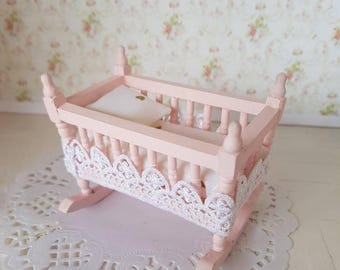 Dollhouse Cradle,Dollhouse Baby Cradle,Nursery Bed,Dollhouse Miniatures,Dollhouse pink Furniture,12th Scale Furniture,Dollhouse Furniture