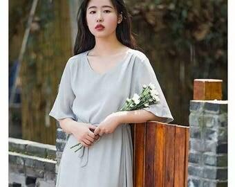 Chiffon dress,light grey dress,casual dress travel dress holiday dress