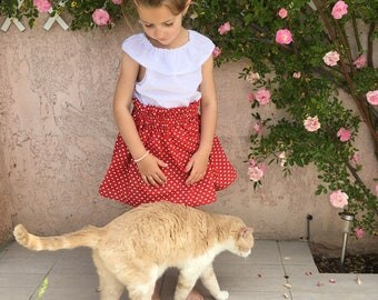 Skirt Valentine Red Heart 2 to 6 years