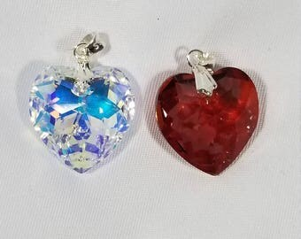 925 Sterling Silver Swarovski 18mm Red Magma or Crystal AB Heart Pendant Only #2159