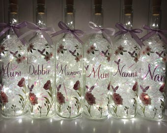 Mothers Day Gift, Floral Light Up Bottle, Gifts For Mum, Floral Gifts, LED Light Up Bottle