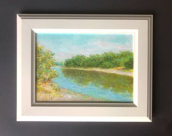 MINI oil Painting  river riverscape Oil Painting Art Classical Original Gifts home decor ready to hang book shelf decor bedside table decor