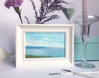 Sea Painting seascape mini Oil Painting Classical Painting Original Art home decor ready to hang book shelf decor bedsidetable decor framed