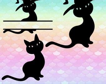 10 Cat Images Halloween frame Svg Monogram Font Svg Alphabet Cut Files Silhouette Studio Cricut Svg Dxf Png digital art