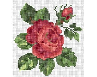 Red Rose Pattern// Counted Cross Stitch Rose// Rose with a Bud Pattern// Cross stitch Flower Pattern// Rose Cross Stitch Pattern