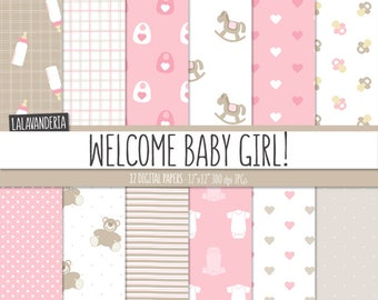 Baby Girl Digital Paper Pack. Pink Baby Patterns with cute Backgrounds. Baby Digital Scrapbook - Its a girl - Teddy, rocking horse, bottle..