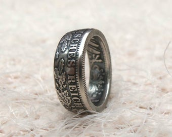 Germany Silver Coin Ring 1 Mark 1873-1916- Deutsches coin ring - 1 mark coin ring - Souvenir from Germany