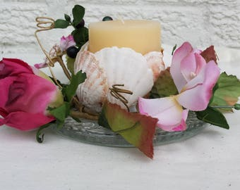Shell Candle and floral arrangement