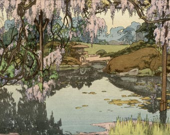"Japanese Art Print ""Wisteria"" by Yoshida Hiroshi, woodblock print reproduction, Asian art, pond, landscape, Japanese garden, blossoms"