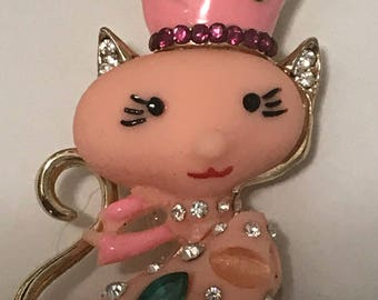 Cute Little Pink Kitty Keychain/ Backpack Charm  Embellishments  of Austrian Crystals