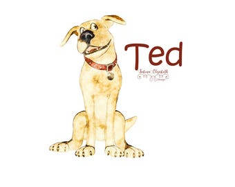Dog Ted 3, beige, Dog, Watercolor Clipart, Baby, Child, Fun, Craft