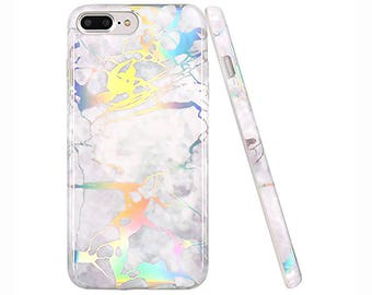 White Holographic Holo Colourful Shiny Marble Phone Case Cover for Apple iPhone 6 6s 7 8 Plus
