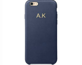 Personalised Navy Blue PU Leather Phone Case for Apple iPhone 5 6 6s 7 8 10 X Plus Embossed Cover Name initials Customized Monogram