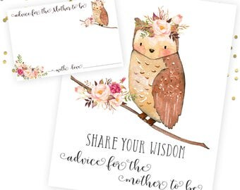 Advice For Mother to be, Baby Shower Advice Card, Printable Baby Shower. Floral Woodland Baby Shower. Woodland Theme Baby Shower. Watercolor