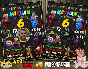 Lego Invitation, Avenger Invitation, Lego Avenger Invitation, Superhero Invitation, Lego Superhero Invitation, Superhero Birthday Invitation