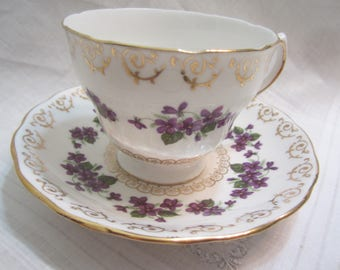 Vintage Colclough Bone China Cup and Saucer Purple Violets with Gold Scrolling Pat. # 8247
