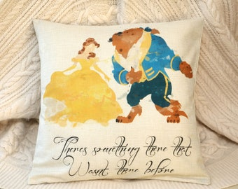 """beauty and the beast  watercolour quote  """" theres something there that wasnt there before """"  inspired cushion cover 45 by 45 cm  gift"""