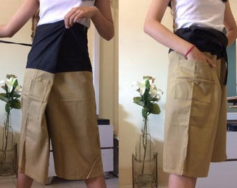 Discount 20%--3/4 Soft Cotton Pants, Thai fisherman pants with 1 pocket, free size (see detail).P15