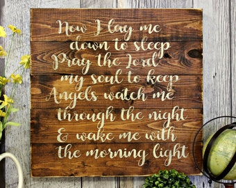 Now I Lay Me Down To Sleep. Rustic Decor. Country Decor. Wood Sign. Wall Decor. Inspiraional. Living Room Decor. Distressed. Made in Canada.