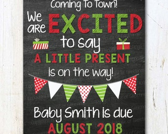 Holiday Baby Announcement Our Little Present Is On The Way Santa's Not The Only One Coming To Town Pregnancy Announcement Card, Chalkboard
