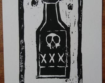 The Devil Drink Woodcut Print