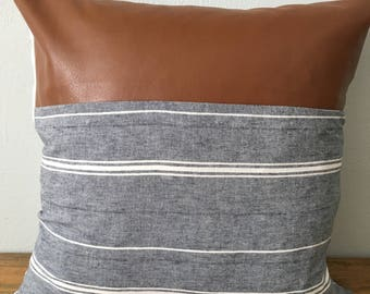 Faux leather/striped chambray pillow cover