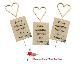 """Tags for sparkler """"make twinkle the arrival of the groom"""", personalized, set of 10, wedding"""
