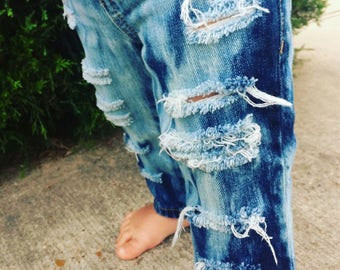 Boys distressed jeans bleach splatter tie dye