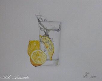 """Original watercolor """"lemons and water"""" 30 * 40 cm"""