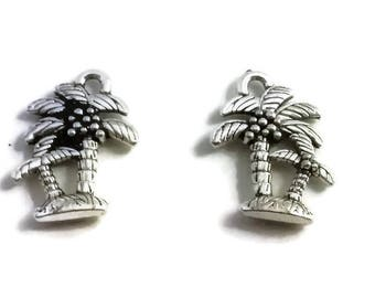 6 Coconut Tree Charm Pendant Antique Silver Tone, Palm Tree Charm Pendant, Beach Charms, Tropical Charm, USA Seller, (C151)