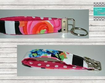 Floral/Striped Key Fob, Keychain, Key Ring