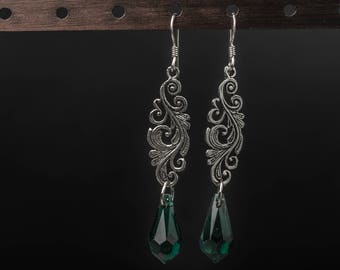 Baroque princess 925 sterling silver and swarovski crystals earrings