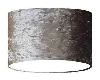 Grey Velvet Lamp Shade, Handmade Fabric Lampshade, 20 30 40 cm, Large Small Light Shade, Drum Shade, Gift for her, Home Decor