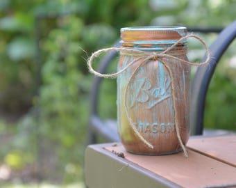 Rustic Patina Mason Jar