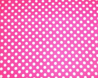 hot pink and white polka dots