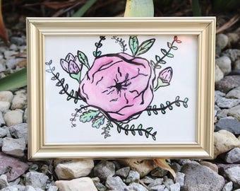 Pink Watercolor Framed Flower
