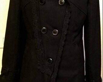Black acrylic and wool coat