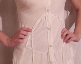 Ivory viscose short sleeve tunic