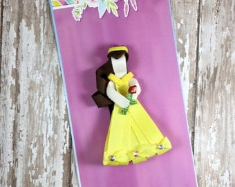 Princess Belle Ribbon Sculpture, Belle Hair Clip, Princess Belle Inspired Hair Clip, Beauty and the Beast Hair Clip, Girls Hair Accessories