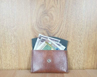 Leather purse - Small bag - Purse for small money - Brown wallet - Purse with button - Pocket wallet - Kids' purses.