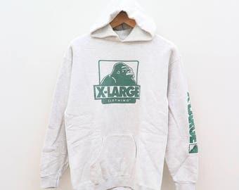Vintage X-LARGE Clothing Streetwear Hip Hop Gray Hoodies Sweater Sweatshirt Size M