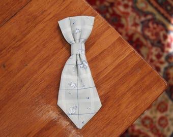 Grey birds dog neck tie