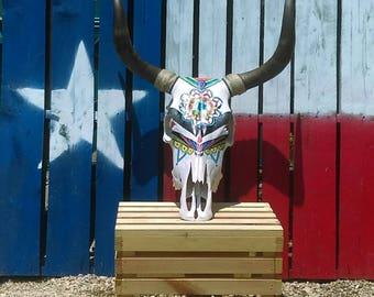 Genuine Handpainted Longhorn Skull