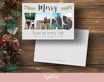 Merry Xmas Photo Card, Christmas Card, Grey Polka Dot, Photo Collage, Holiday Card, Printable Card, Greeting Card, 5x7, Digital File, JPEG
