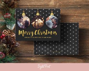 Merry Christmas Card, Christmas Ornaments, Photo Card, Holiday Card, Printable Card, Greeting Card, 5x7 Card, Digital File, JPEG