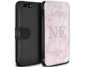 Pink Marble Pink Font initial Frame Personalized Custom Design Wallet Flip Phone Case iPhone 5 5s SE 6 6S Plus 7 7 Plus