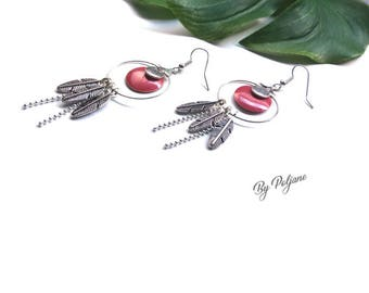Pink sequins earrings silver