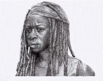 A4 The Walking Dead - Michonne dotwork drawing (original)