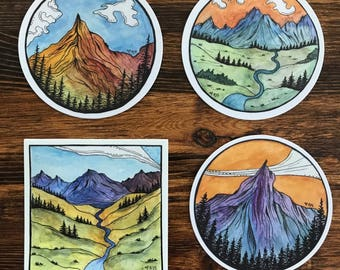 Sticker Pack |  Nature | Mountains | Watercolor prints